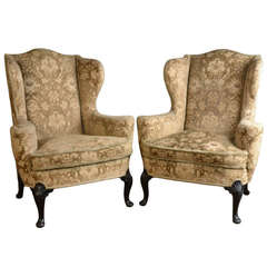 Pair of George I Style Wing Armchairs