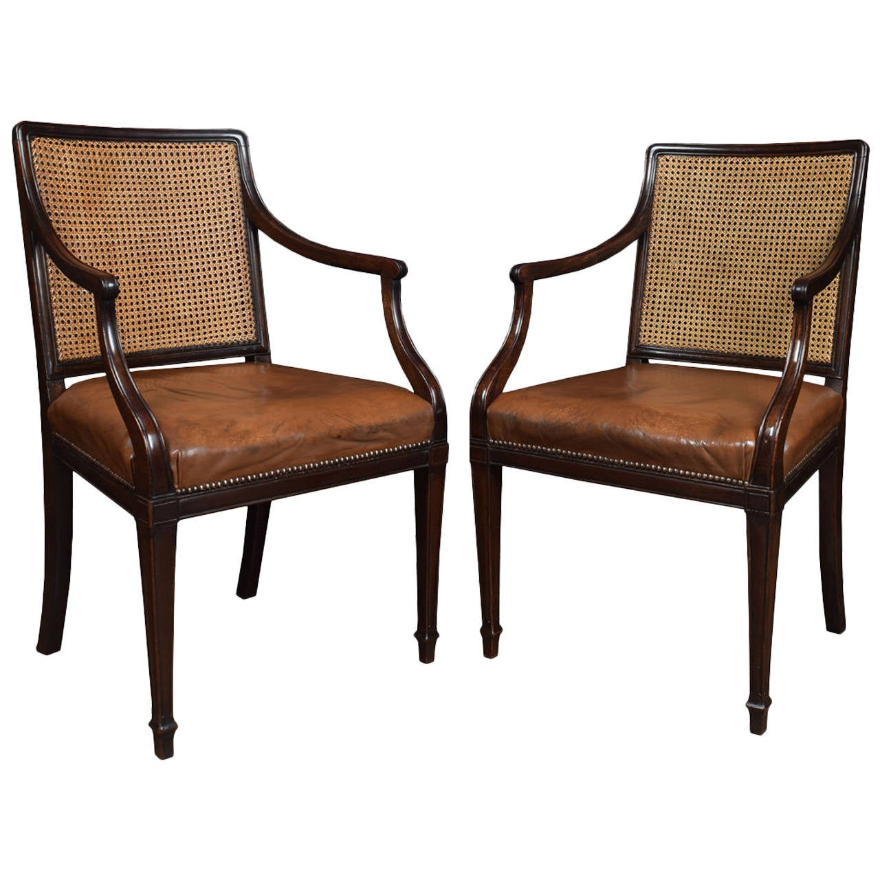 Pair Of Mahogany Hepplewhite Style Office Armchairs At 1stdibs