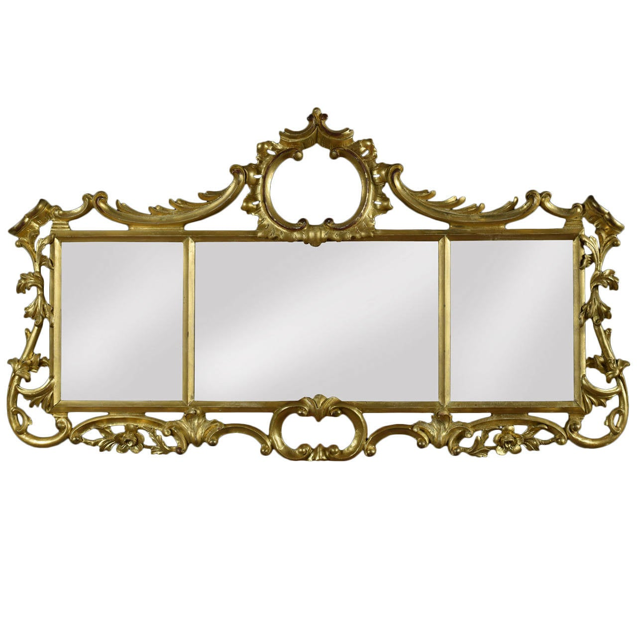 Rococo style giltwood triptych wall mirror at 1stdibs for Baroque style wall mirror