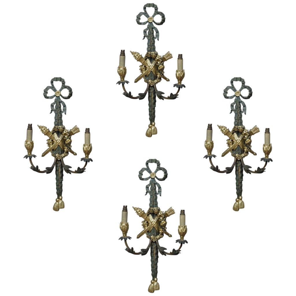 Set of Four Twin-Arm Painted Wall Lights at 1stdibs