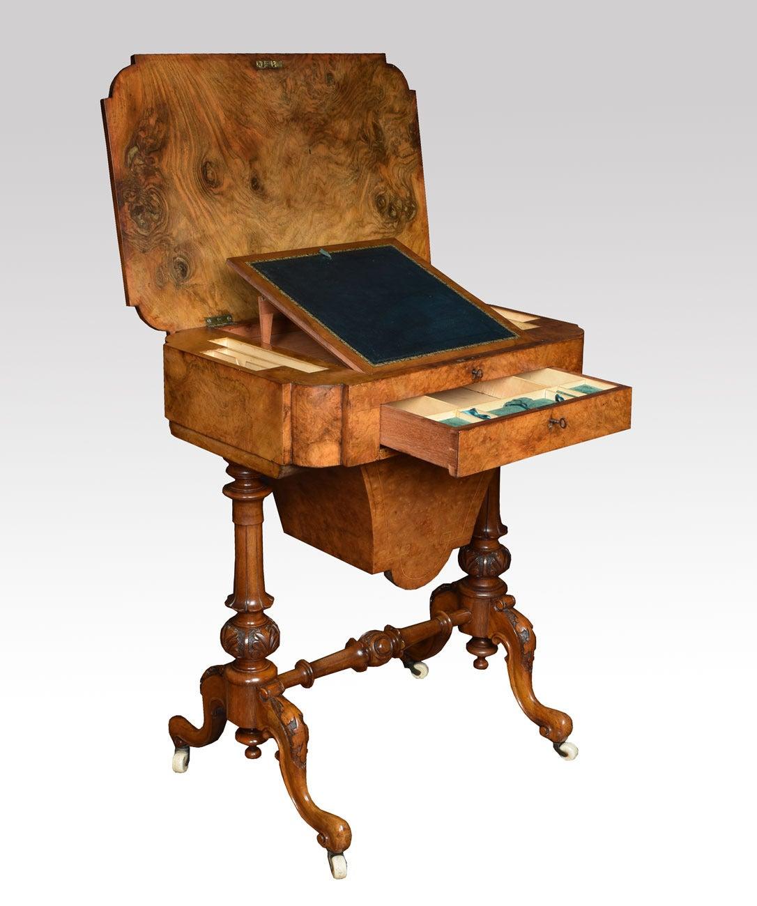 victorian walnut work table for sale at 1stdibs. Black Bedroom Furniture Sets. Home Design Ideas