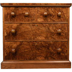 Victorian Burr Walnut Chest of Draws of Small Proportions