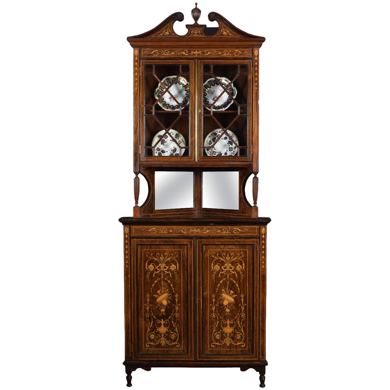 Edwardian Rosewood Inlaid Corner Display Cabinet For Sale - Edwardian Rosewood Inlaid Corner Display Cabinet For Sale At 1stdibs