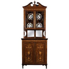 Edwardian Rosewood Inlaid Corner Display Cabinet