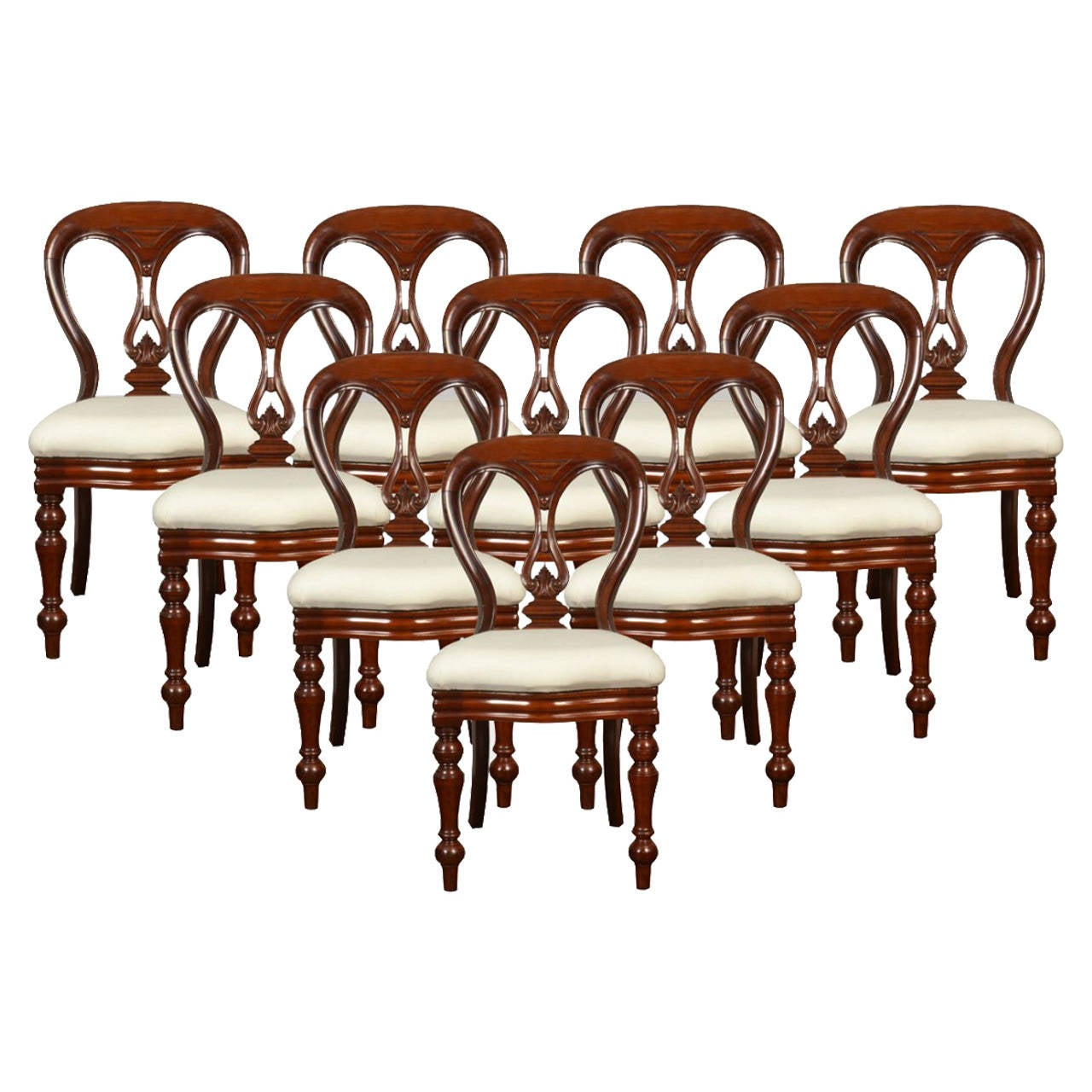 Antique victorian dining chairs - Set Of Ten Mahogany Victorian Dining Chairs Antique