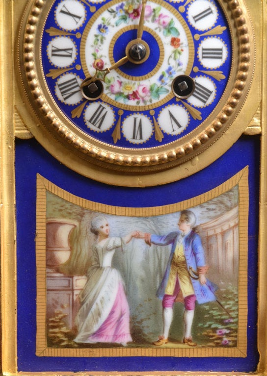 Porcelain And Ormolu French Mantle Clock 3