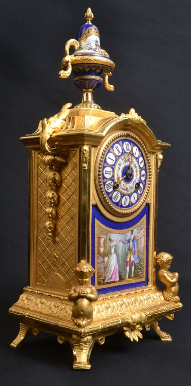 Porcelain And Ormolu French Mantle Clock 4