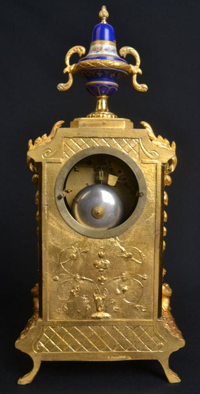 Porcelain And Ormolu French Mantle Clock 5