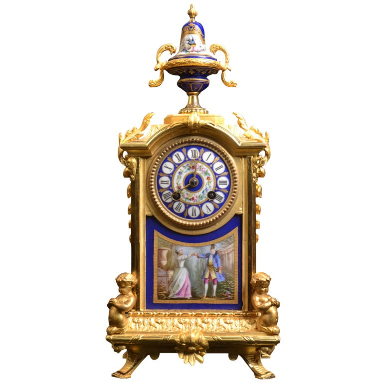 Porcelain And Ormolu French Mantle Clock 1