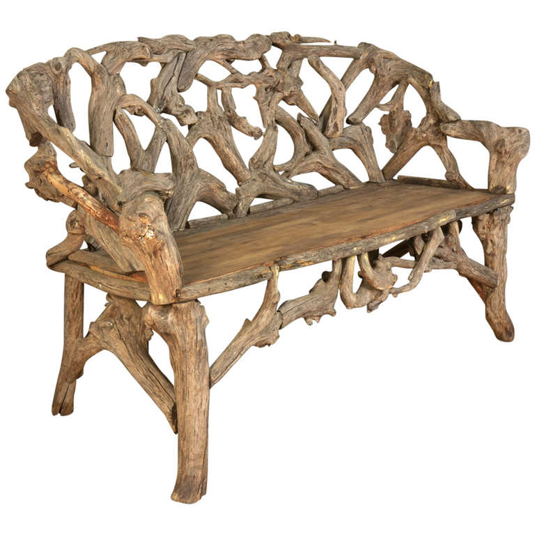 Gnarled Wood Garden Seat, Late 20th Century 1