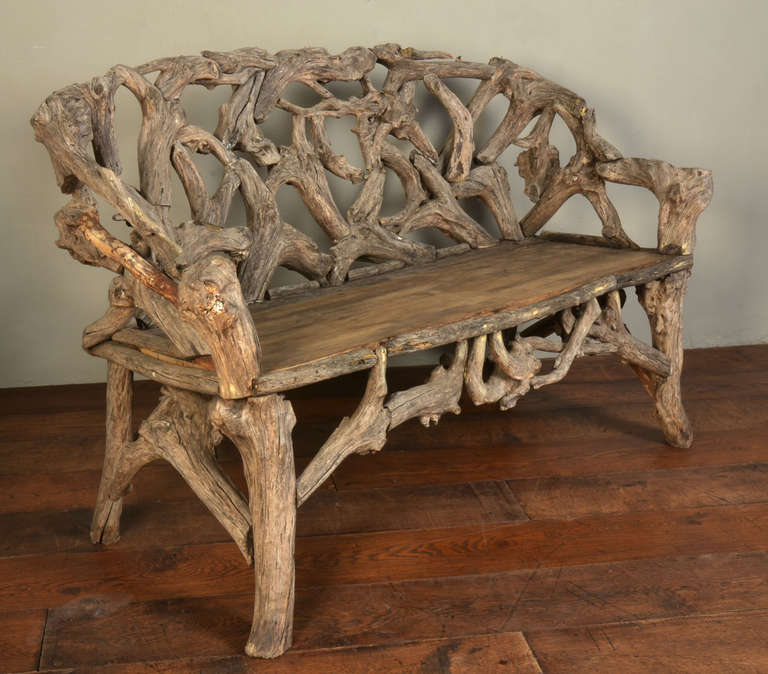 Gnarled Wood Garden Seat, Late 20th Century 2