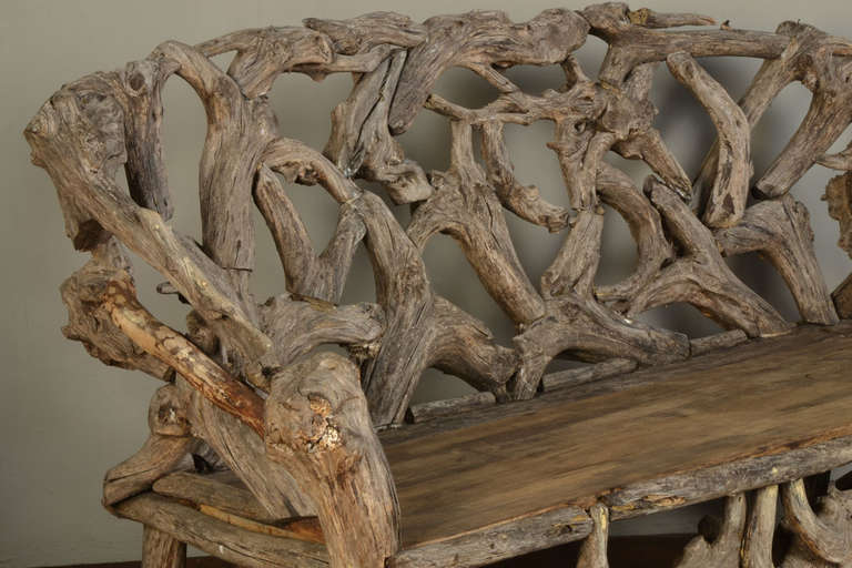 Gnarled Wood Garden Seat, Late 20th Century 5