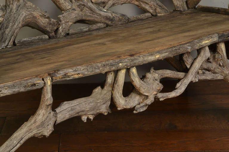 Gnarled Wood Garden Seat, Late 20th Century 7