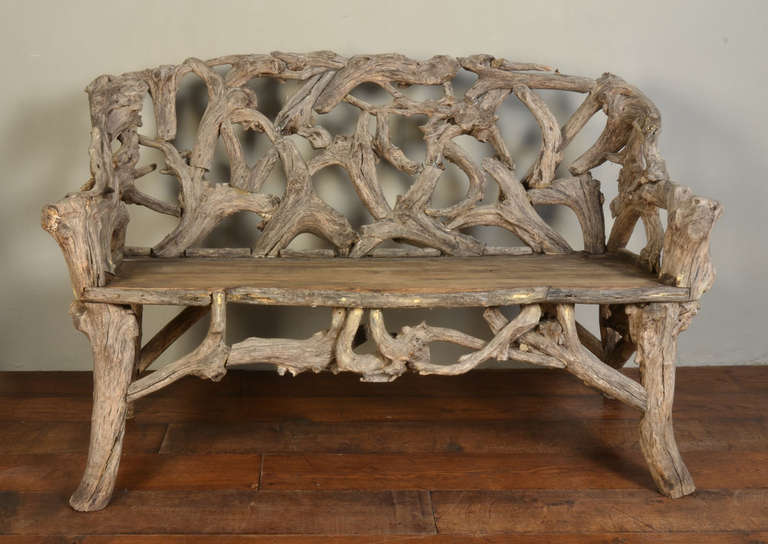 Gnarled Wood Garden Seat, Late 20th Century 3