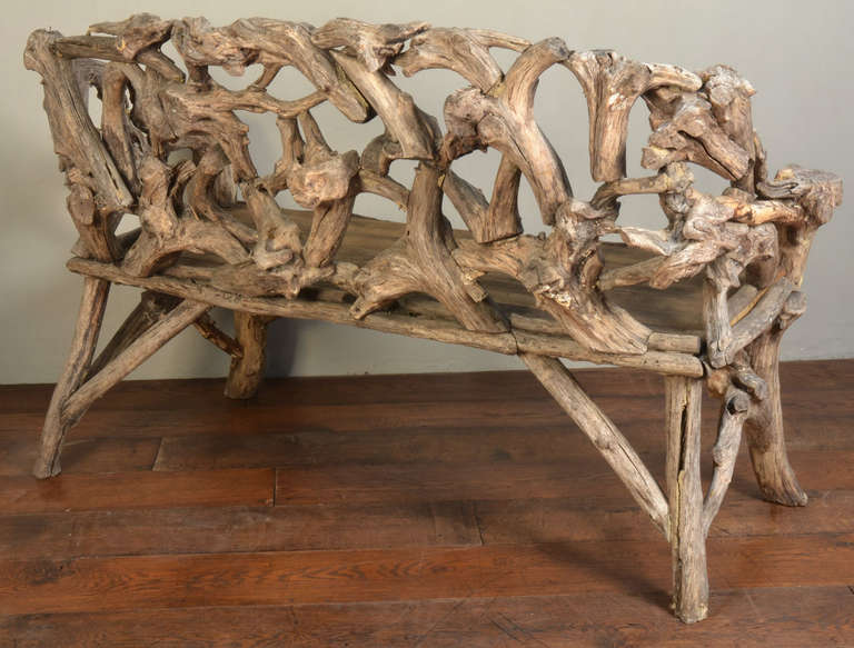 Gnarled Wood Garden Seat, Late 20th Century 4