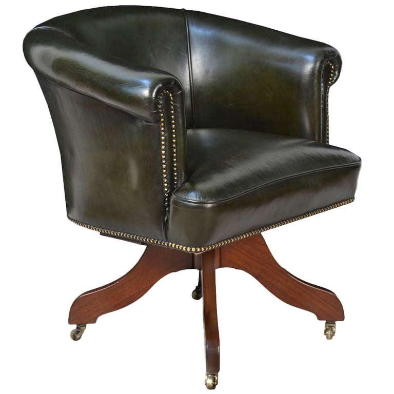 Art Deco Green Leather Upholstered Revolving Office Chair