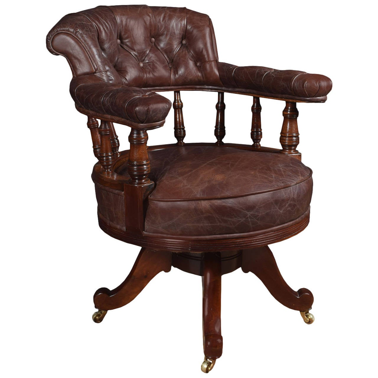 Mahogany Framed Captains Office Chair For