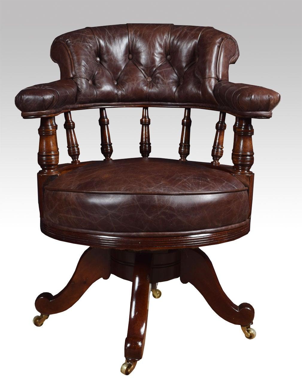 Mahogany framed captains office chair 2 - Mahogany Framed Captains Office Chair At 1stdibs