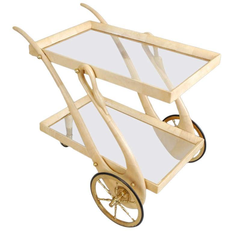 Aldo Tura Tea/ Bar Cart In Goatskin Parchment Swan For Sale