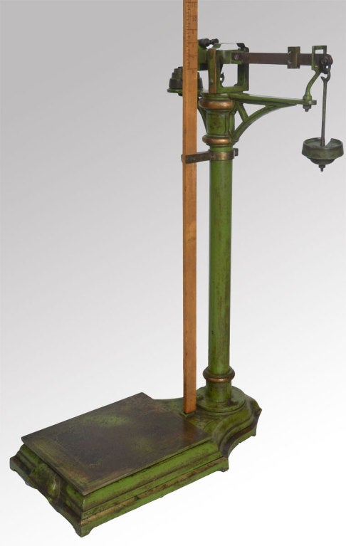 set of green painted doctoru0027s scales having wooden adjustable measuring stick and pressure plate scales retaining & Set of Vintage Cast Iron Doctors Scales at 1stdibs