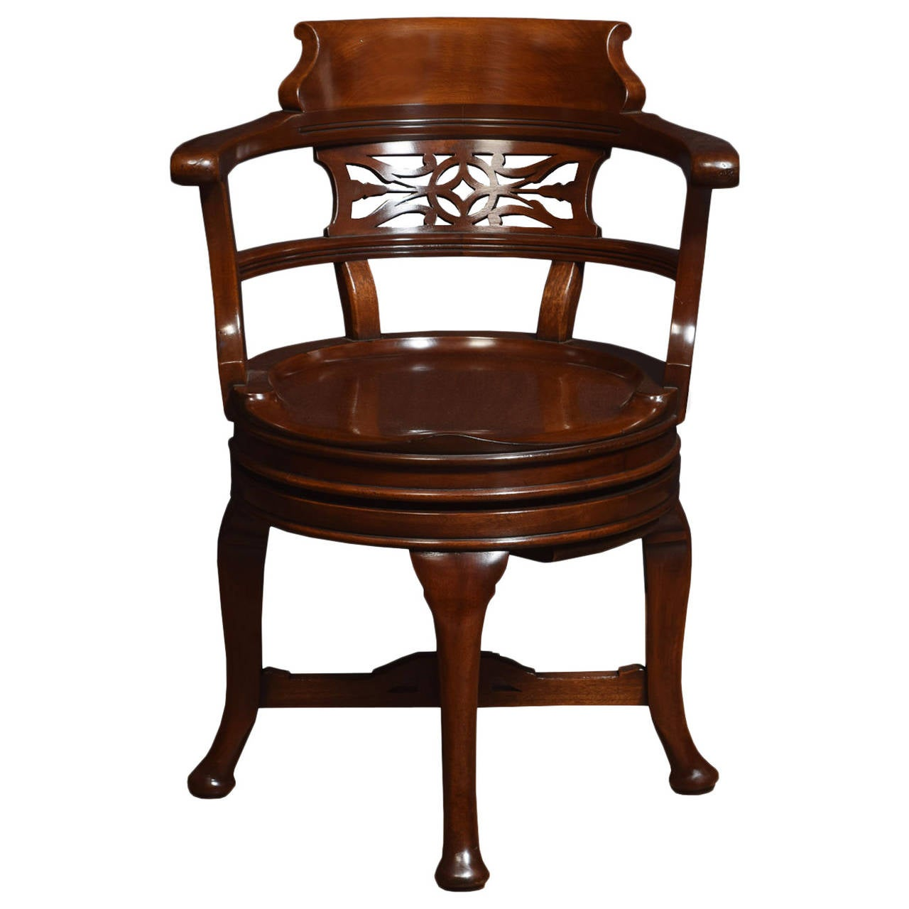 Mahogany swivel desk chair at 1stdibs for Chair with swivel desk