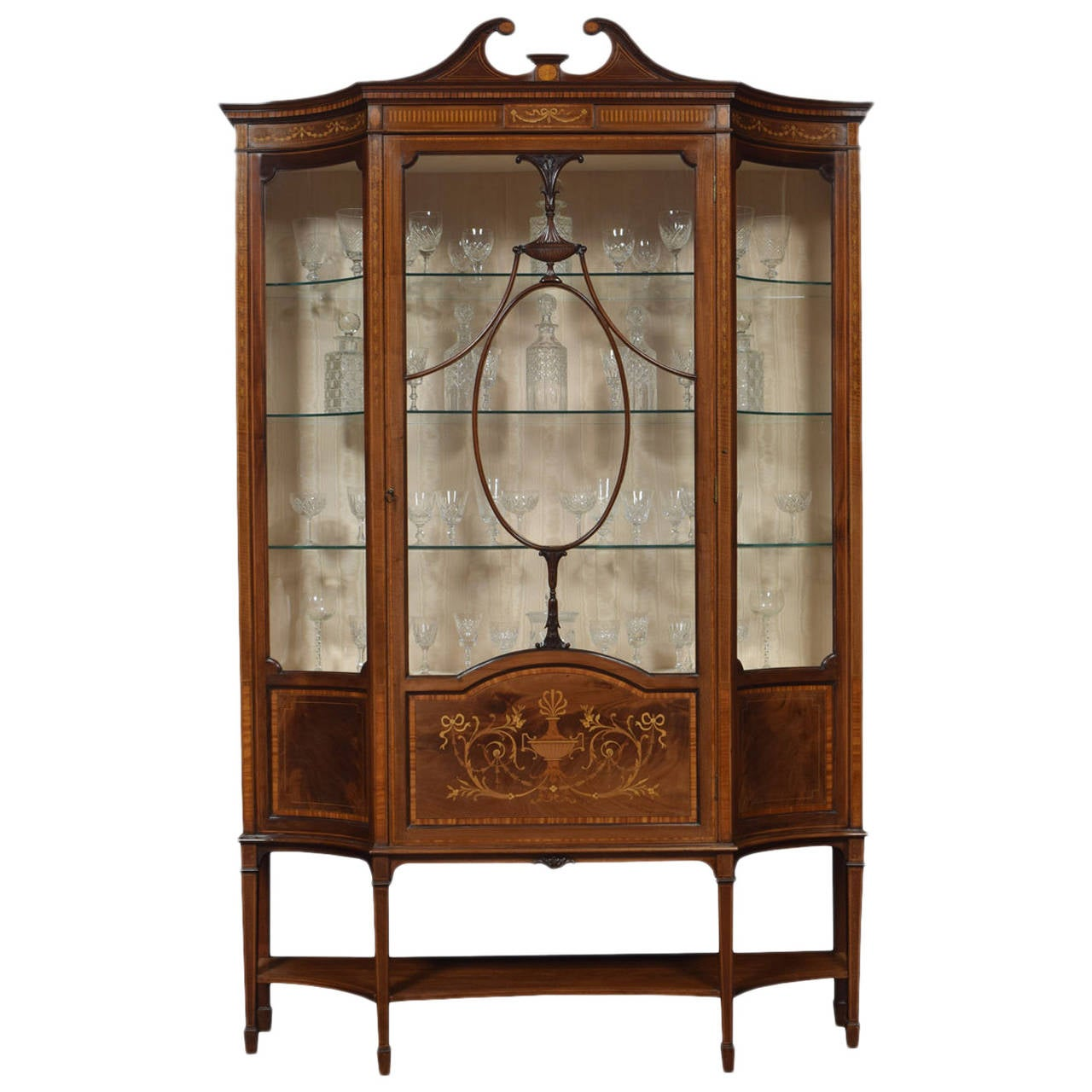 Late 19th Century Mahogany Sheraton Revival Inlaid Display Cabinet 1