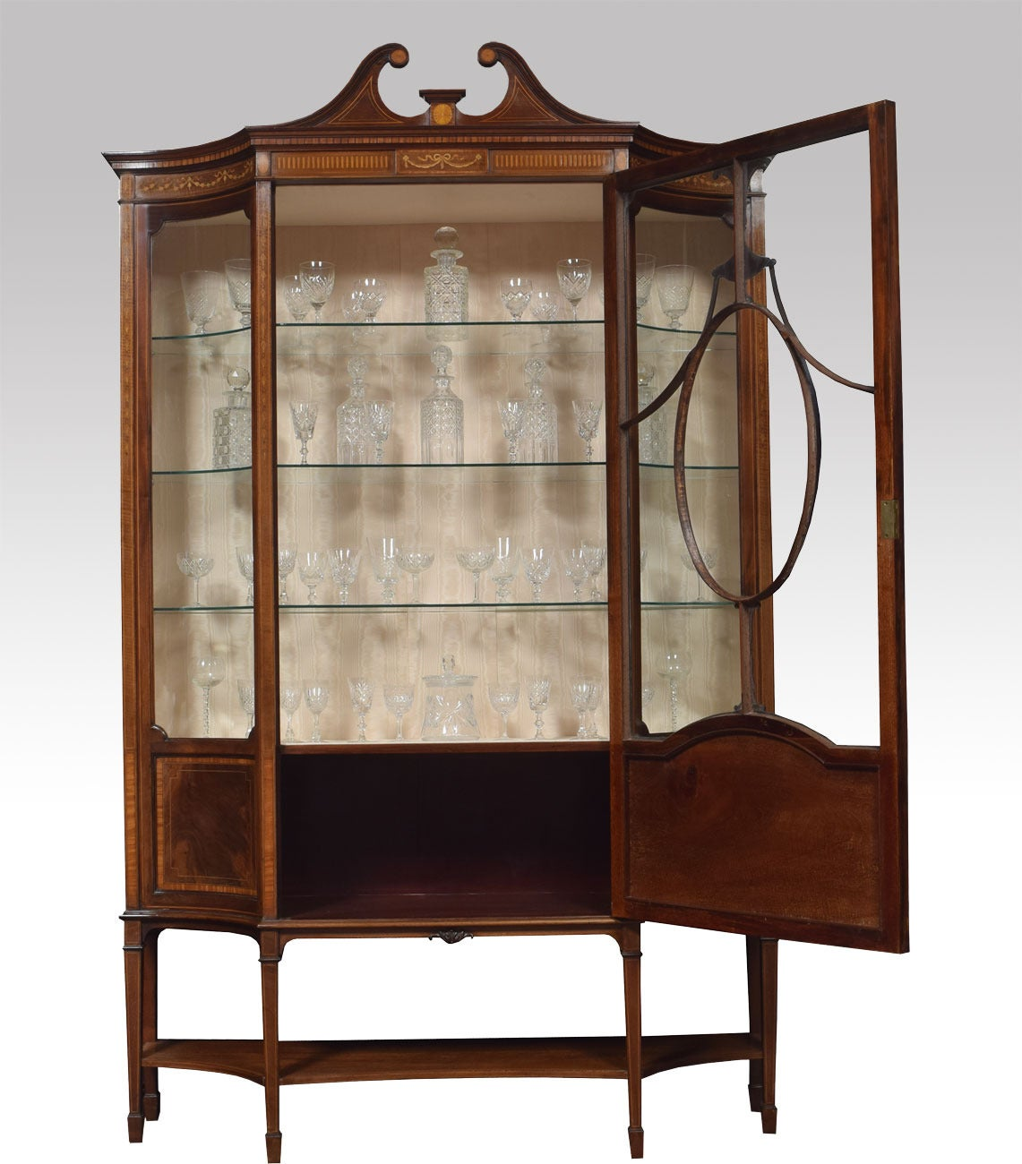 Late 19th Century Mahogany Sheraton Revival Inlaid Display Cabinet 3