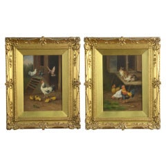 Pair of Oil on Board Farmyard Scenes