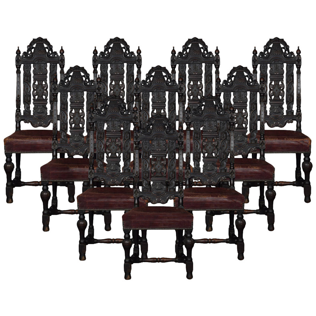 Chair table 17th century - Set Of Ten 17th Century Style Carved Oak Dining Chairs 1