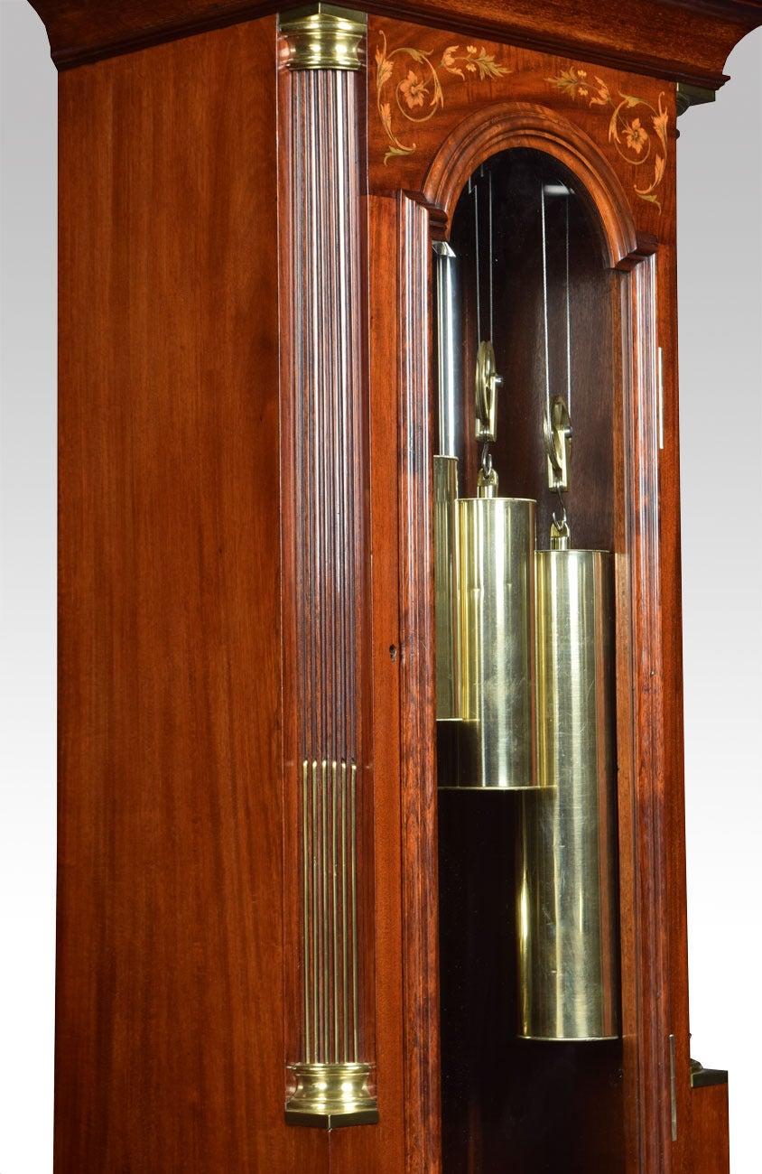 Edwardian Mahogany Inlaid Tubular Chiming Longcase Clock