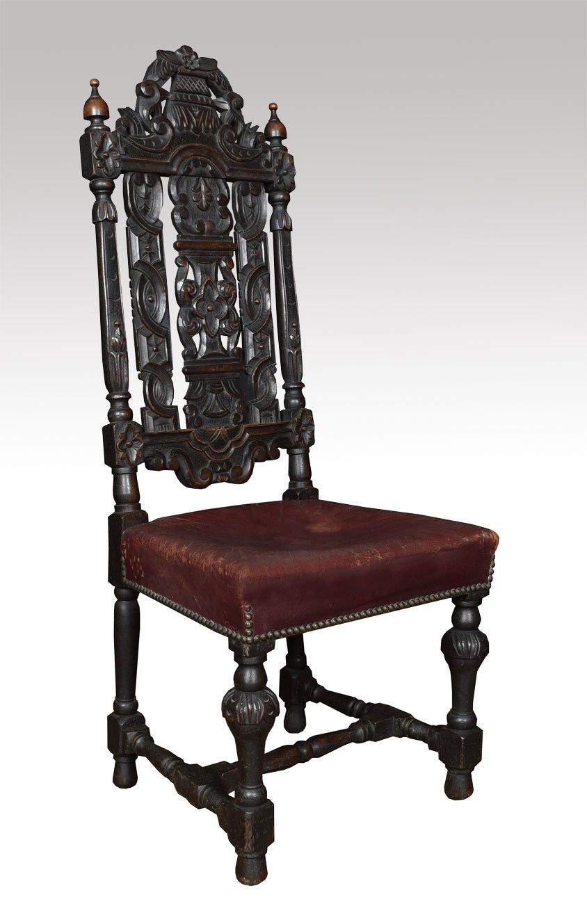 Set Of Ten 17th Century Style Carved Oak Dining Chairs At