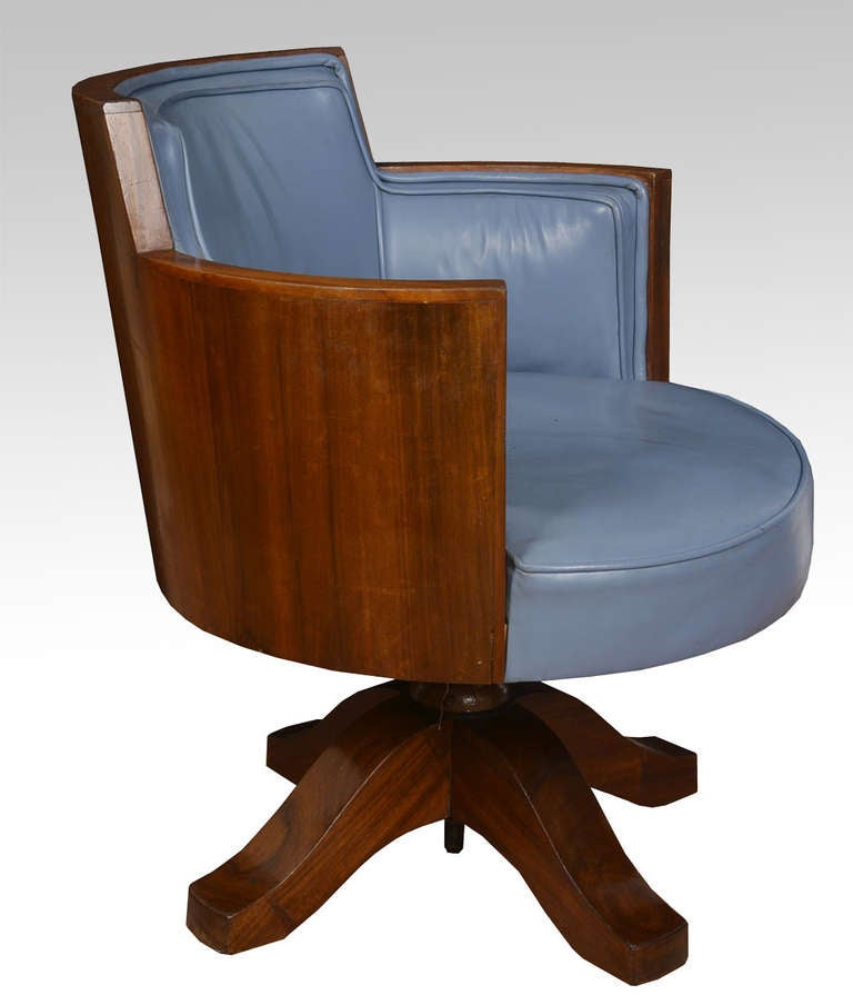 Mahogany Framed Art Deco Swivel Office Chair The Raised Back Above Upholstered Blue Leather Seat And