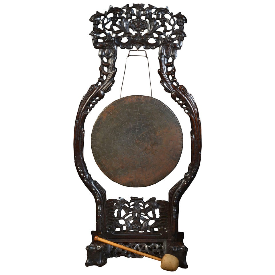 very large chinese carved dinner gong at 1stdibs. Black Bedroom Furniture Sets. Home Design Ideas