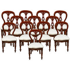 Set of 12 Mahogany Victorian Dining Chairs
