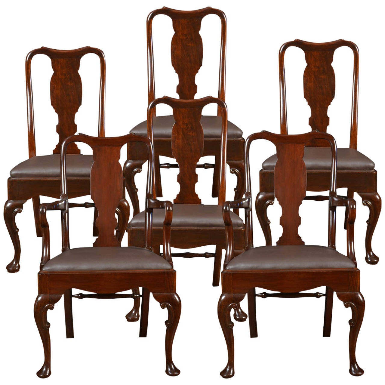 Set of six early 20th century queen anne style high back dining chairs at 1stdibs - Queen anne dining room furniture ...