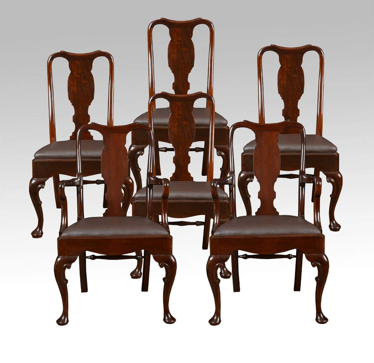 Set of six early 20th century queen anne style high back for Dining room chairs queen anne