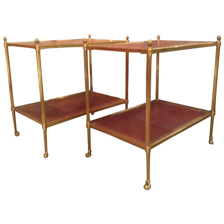 Beautiful pair of side tables on wheels louis xvi style for Sofa table on wheels