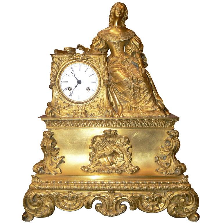 1830 S Gilded Bronze Romantic Mantel Clock Allegory