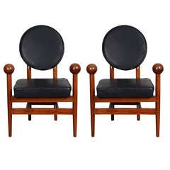 Pair of 1960s Wood and Leather Armchairs