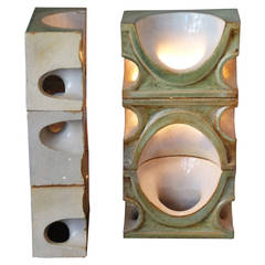 Pair of Ceramic Sconces by Jean Derval