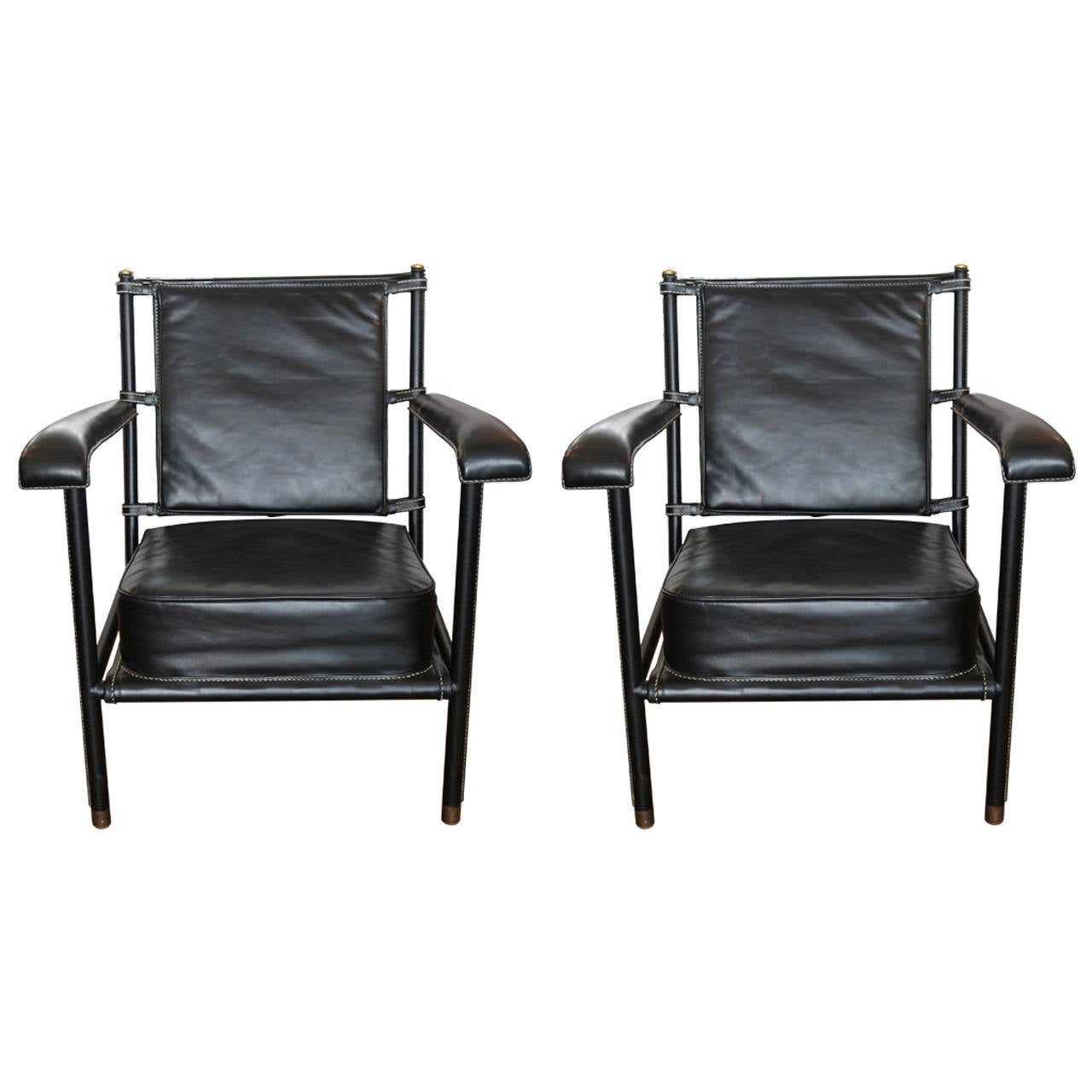 Jacques Adnet armchairs, 1950s