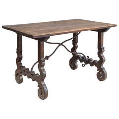 17th Century, Walnut Italian Table with Iron Stretcher