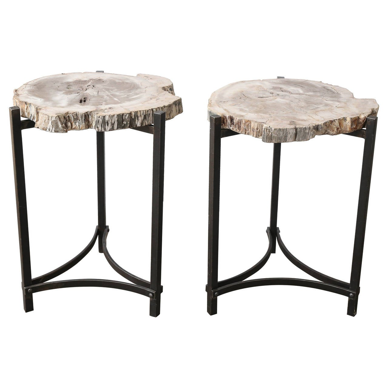 Petrified wood slab on iron base side table at 1stdibs for Side table base