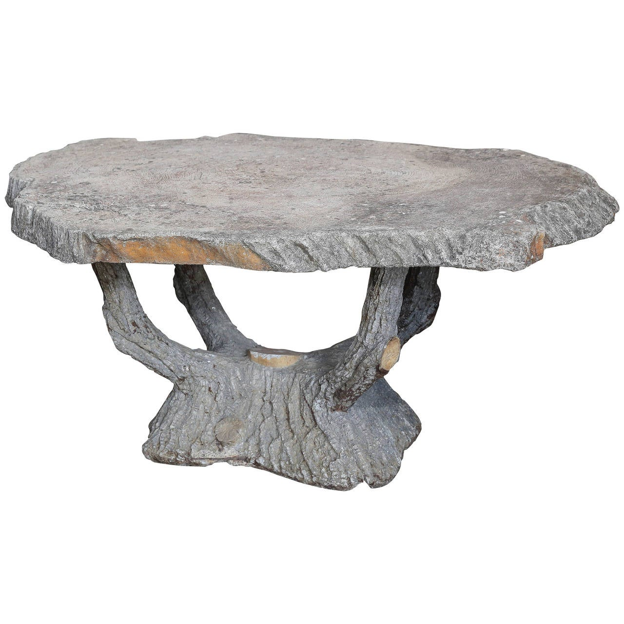 French Concrete Faux Bois Table At 1stdibs