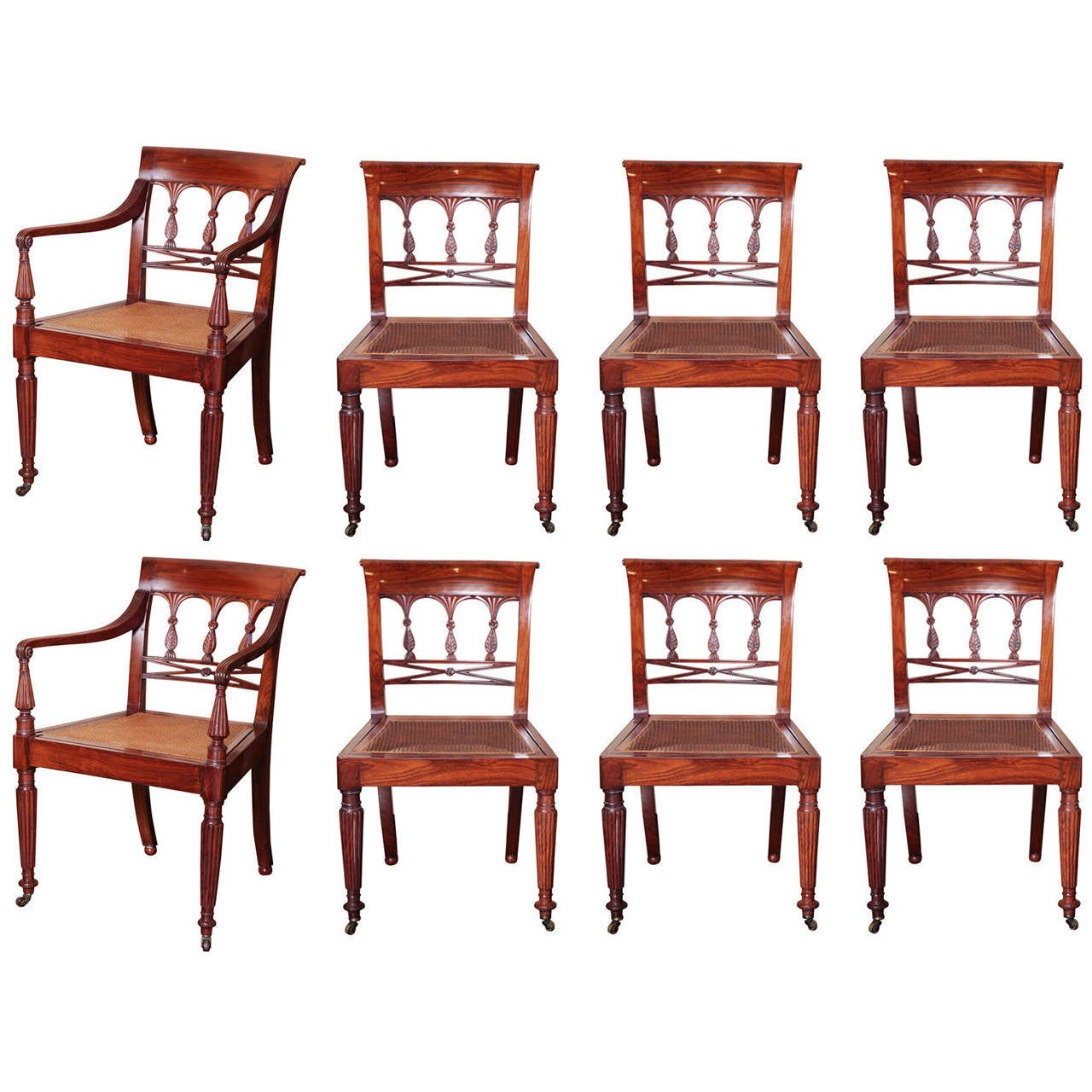 A 19th century Set of Six Side Plus Two Armchairs