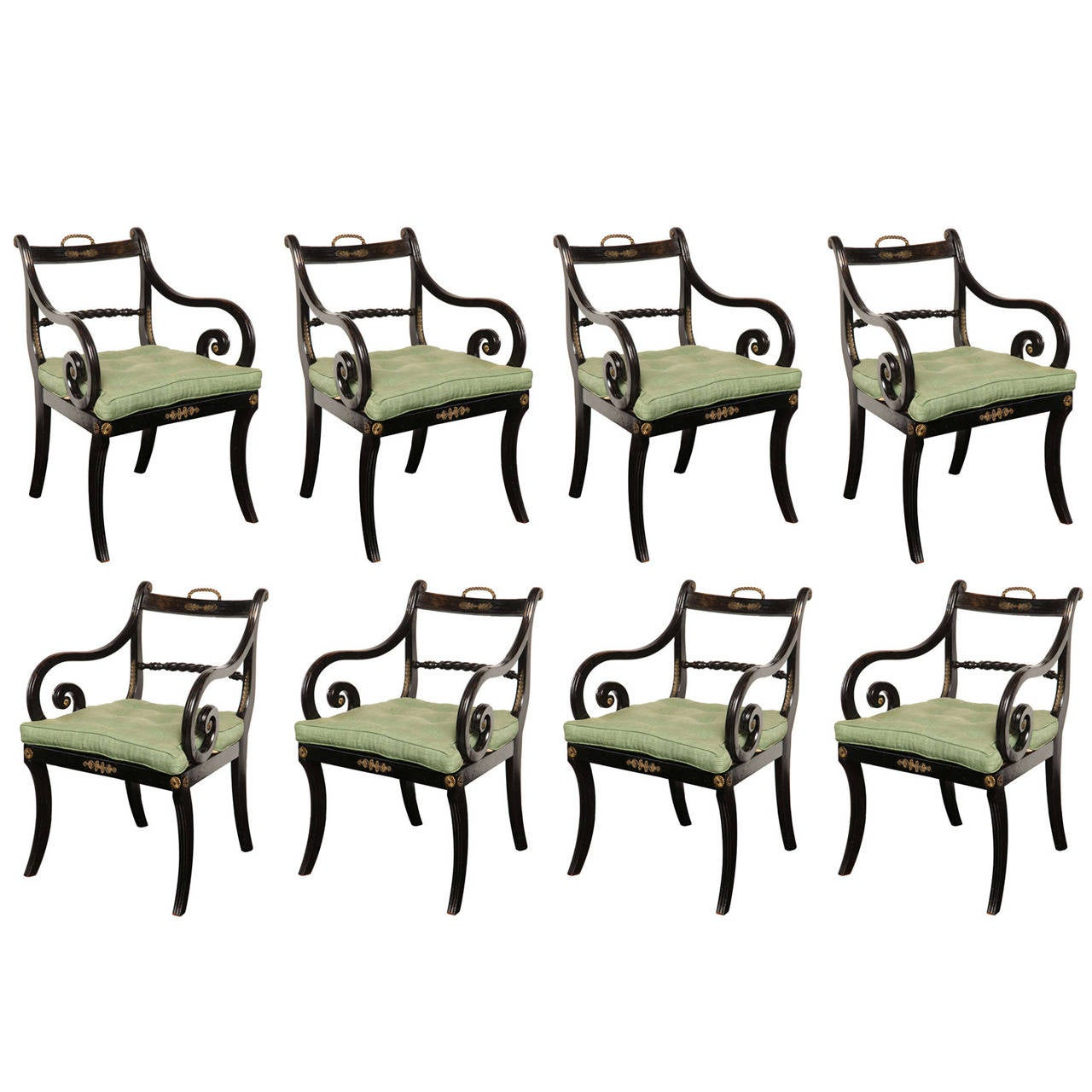 Set of Eight Early 19th Century Regency Armchairs, Provenance Dromoland Castle