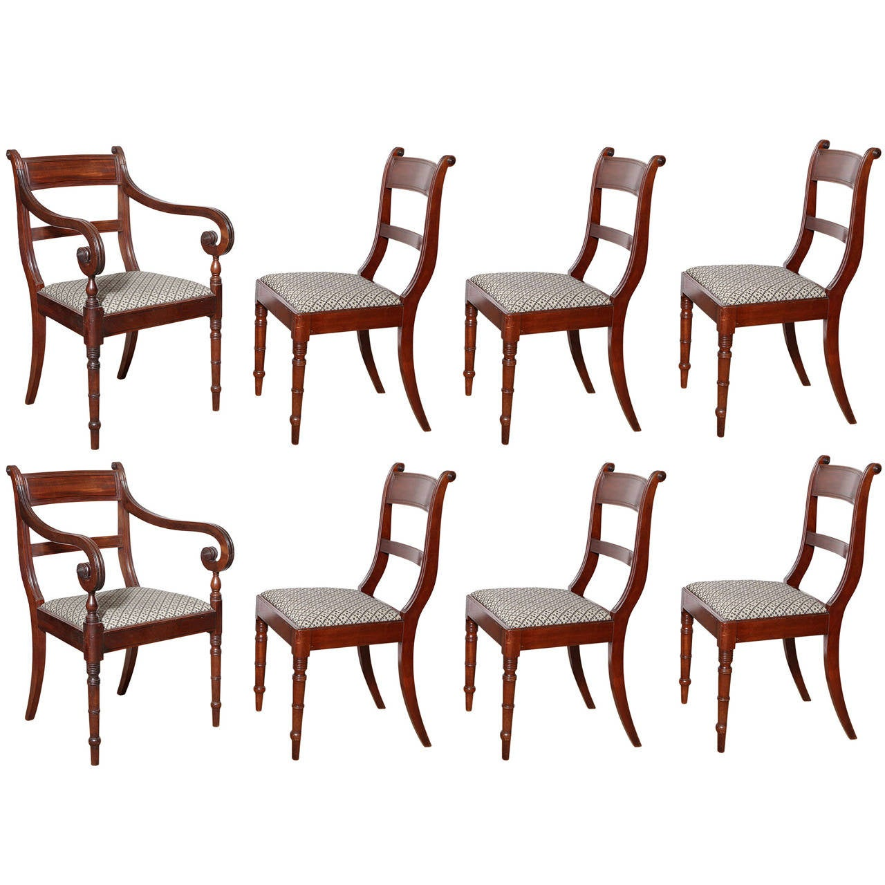 Set of Eight English Regency Dining Chairs For Sale