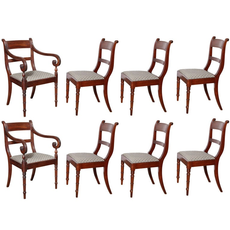 Set of Eight English Regency Dining Chairs