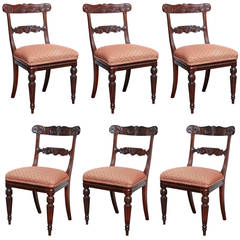 Set of Six Early 19th Century English Regency Side Chairs