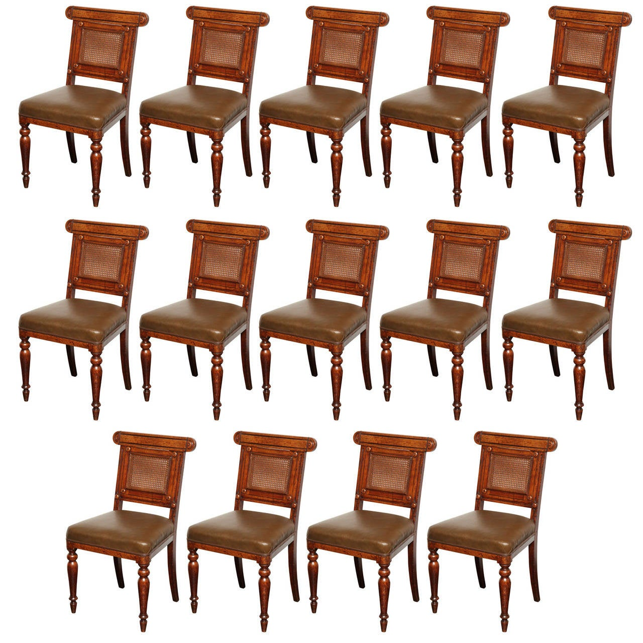 Set of 14 george iv oak dining chairs at 1stdibs for Oak dining room chairs